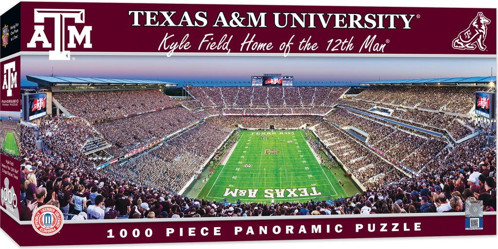 TEXAS A&M AGGIES STADIUM PANORAMIC JIGSAW PUZZLE 1000 PC KYLE FIELD 12TH MAN