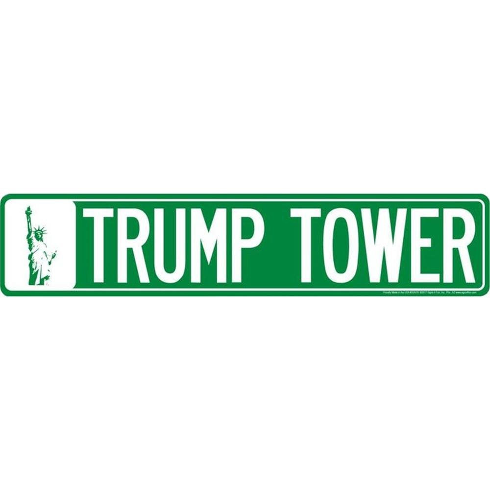 "TRUMP TOWER STREET SIGN 24 X 5"" EMBOSSED METAL NEW YORK ROAD NY MAN CAVE GARAGE"