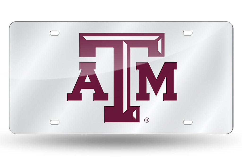 TEXAS A&M AGGIES SILVER MIRROR CAR TAG LASER LICENSE PLATE UNIVERSITY AUTO SIGN
