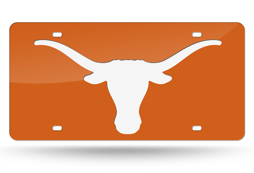 TEXAS LONGHORNS MIRROR CAR TAG LASER LICENSE PLATE AUTO ORANGE WHITE LOGO UNIVERSITY