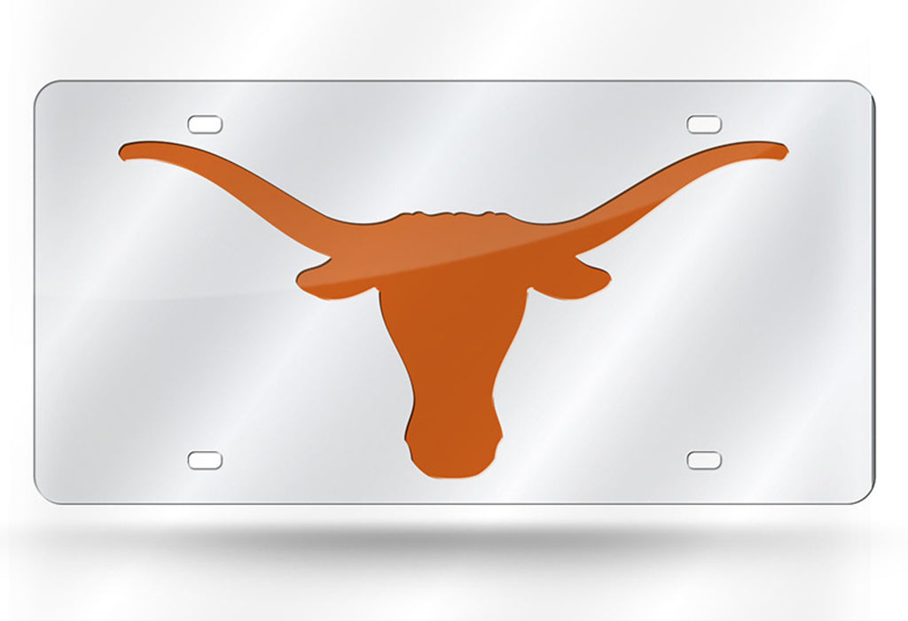 TEXAS LONGHORNS SILVER MIRROR CAR TAG LASER LICENSE PLATE UNIVERSITY AUTO SIGN
