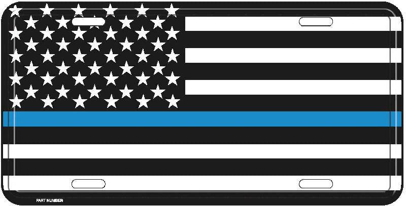 AMERICAN FLAG THIN BLUE LINE ALUMINUM CAR TRUCK TAG LICENSE PLATE USA POLICE