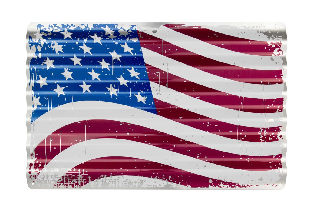 US FLAG CORRUGATED ALUMINUM METAL SIGN AMERICA
