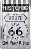 ROUTE 66 GET YOUR KICKS US CORRUGATED TIN SIGN HISTORIC