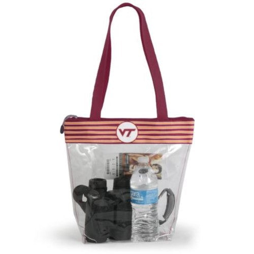 VIRGINIA TECH HOKIES CLEAR ZIPPER STADIUM TOTE APPROVED PURSE BAG INSIDE POCKET