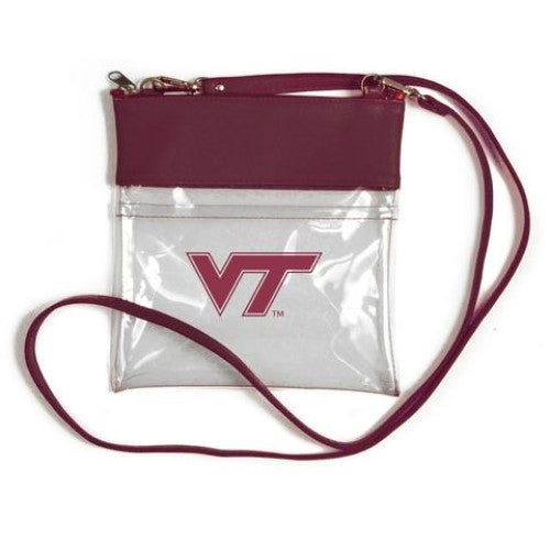 VIRGINIA TECH HOKIES CLEAR GAME DAY CROSSBODY BAG STADIUM APPROVED VEGAN LEATHER DESIGN