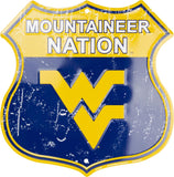 WEST VIRGINIA MOUNTAINEERS SHIELD MOUNTAINEER NATION METAL SIGN