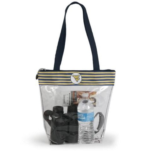 WEST VIRGINIA MOUNTAINEERS CLEAR ZIPPER STADIUM TOTE APPROVED PURSE BAG NCAA