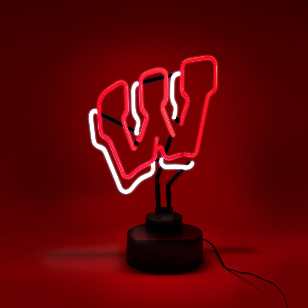 WISCONSIN BADGERS NEON SIGN LIGHT TABLE TOP LAMP