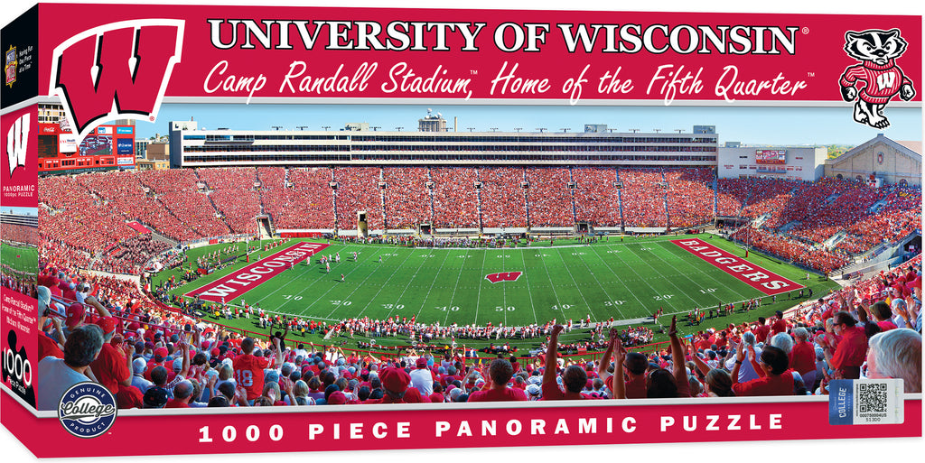WISCONSIN BADGERS STADIUM PANORAMIC JIGSAW PUZZLE 1000 PC CAMP RANDALL FOOTBALL