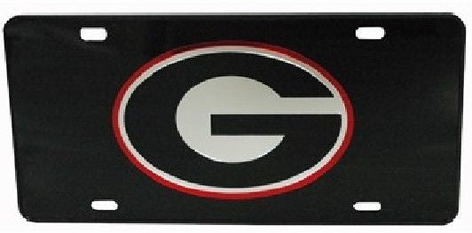 GEORGIA BULLDOGS MIRRORED CAR TAG LICENSE PLATE BLACK G SIGN UGA UNIVERSITY