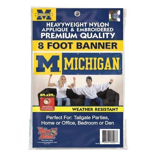 MICHIGAN  8' X 2' BANNER 8 FOOT WOLVERINES HEAVYWEIGHT FOOTBALL SIGN UNIVERSITY