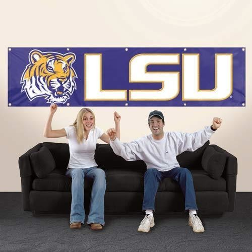 LSU TIGERS FLAG BANNER HEAVYWEIGHT 8' X 2'