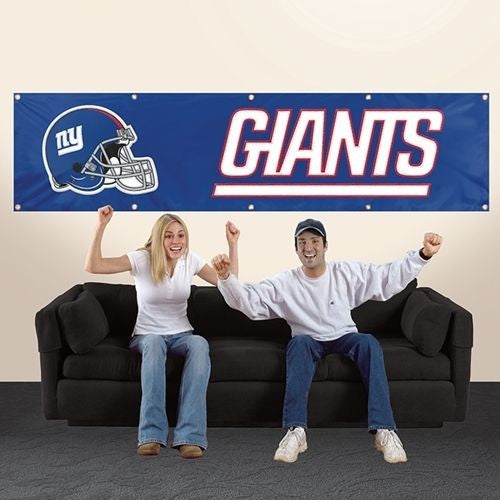 NEW YORK GIANTS 8' X 2' BANNER 8 FOOT HEAVYWEIGHT FOOTBALL  NYLON SIGN GROMMETS