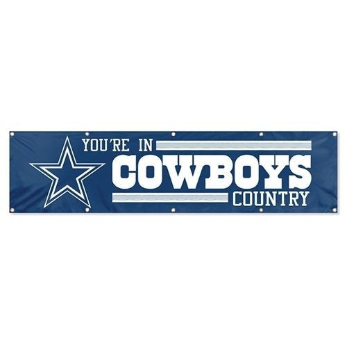 DALLAS YOU'RE IN COWBOYS COUNTRY 8' X 2' BANNER 8 FOOT HEAVYWEIGHT NYLON SIGN