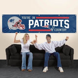 NEW ENGLAND YOU'RE IN PATRIOTS COUNTRY 8' X 2' BANNER 8 FOOT HEAVYWEIGHT SIGN