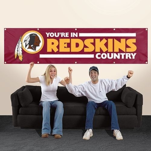 WASHINGTON YOU'RE IN REDSKINS COUNTRY 8' X 2' BANNER 8 FOOT HEAVY NYLON SIGN NFL