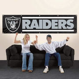 OAKLAND RAIDERS 8' X 2' BANNER 8 FOOT HEAVYWEIGHT NYLON SIGN GROMMETS PREMIUM