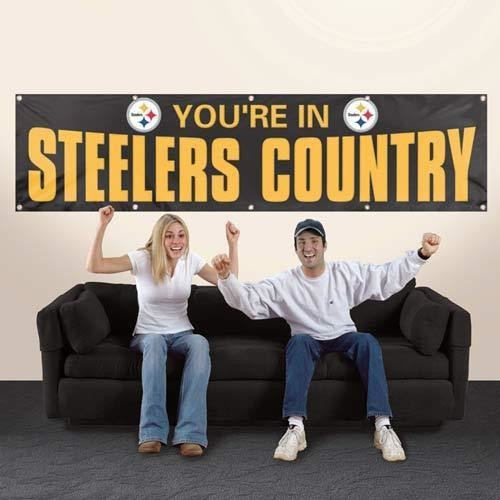 PITTSBURGH YOU'RE IN STEELERS COUNTRY 8' X 2' BANNER 8 FOOT HEAVYWEIGHT SIGN NFL