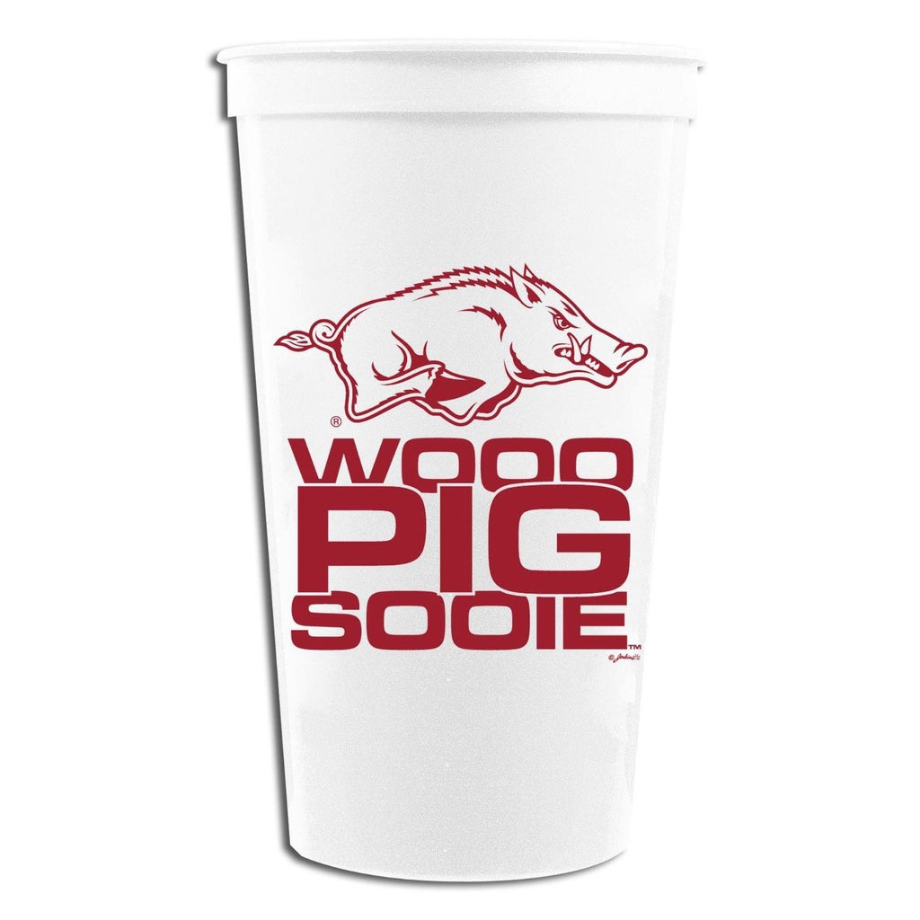 ARKANSAS RAZORBACKS TAILGATING STADIUM TYPE CUPS 32OZ SET OF 4 UNIVERSITY NEW