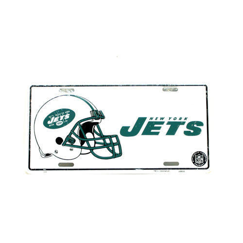 "NEW YORK JETS CAR TRUCK TAG LICENSE PLATE 6"" X 12"" NFL FOOTBALL SIGN HELMET"