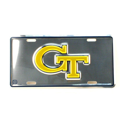 GEORGIA TECH YELLOW JACKETS CAR TRUCK TAG LICENSE PLATE CHROME RAMBLIN' WRECK