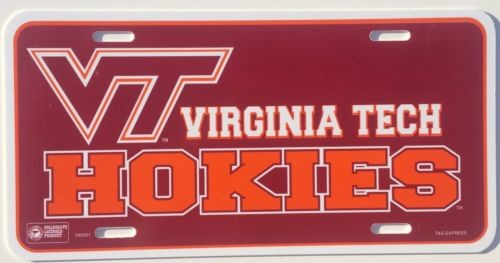 VIRGINIA TECH CAR TRUCK TAG LICENSE PLATE PLASTIC VT HOKIES SIGN MAN CAVE NCAA