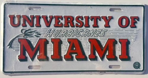 MIAMI HURRICANES CAR TRUCK TAG LICENSE PLATE MIAMI METAL MAN CAVE SIGN