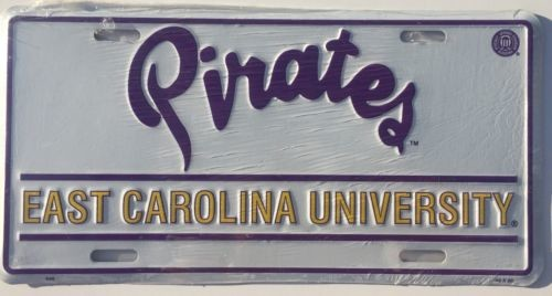"EAST CAROLINA UNIVERSITY CAR TRUCK TAG LICENSE PLATE 6"" X 12"" PIRATES NCAA"