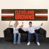 CLEVELAND BROWNS 8' X 2' BANNER 8 FOOT HEAVYWEIGHT NYLON SIGN GROMMETS FLAG NFL