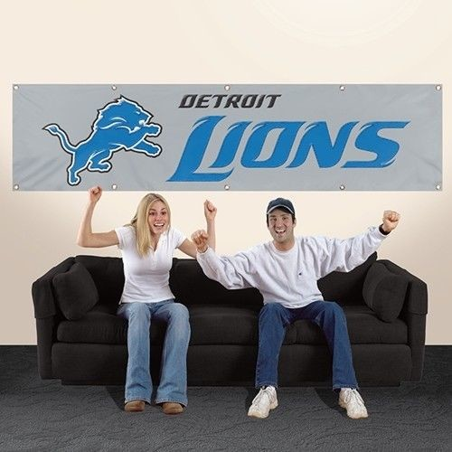 DETROIT LIONS 8' X 2' BANNER 8 FOOT HEAVYWEIGHT NYLON SIGN GROMMETS FLAG NFL