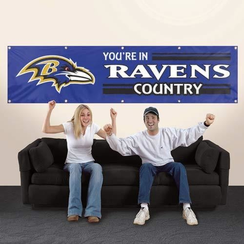 BALTIMORE RAVENS 8' X 2' YOU'RE IN RAVENS COUNTRY BANNER 8 FOOT HEAVYWEIGHT SIGN