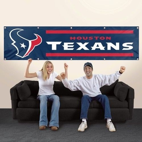 HOUSTON TEXANS 8' X 2' BANNER 8 FOOT HEAVYWEIGHT NYLON GROMMETS SIGN NFL FLAG