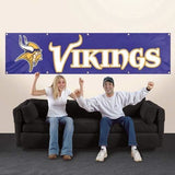 MINNESOTA VIKINGS 8' X 2' BANNER 8 FOOT HEAVYWEIGHT NYLON GROMMETS SIGN NFL FLAG