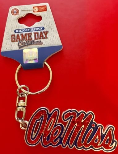 Ole Miss Rebels Keychain Script Bling Diamond