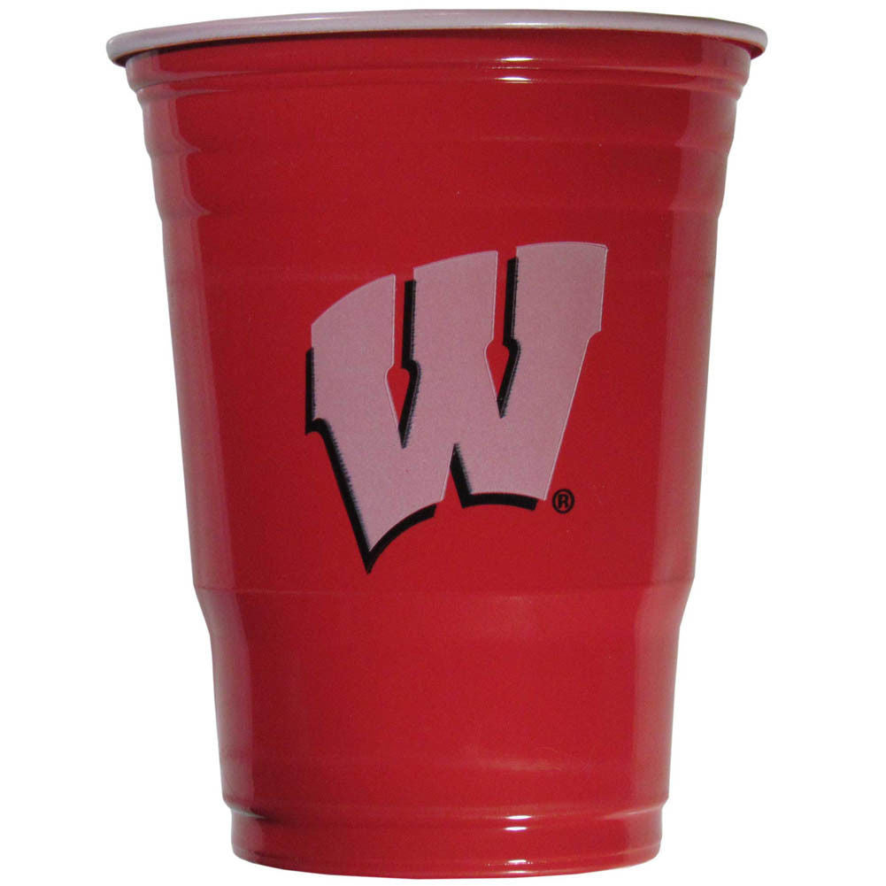WISCONSIN BADGERS PLASTIC GAMEDAY CUPS 18OZ 18CT SOLO TAILGATE PARTY SUPPLIES