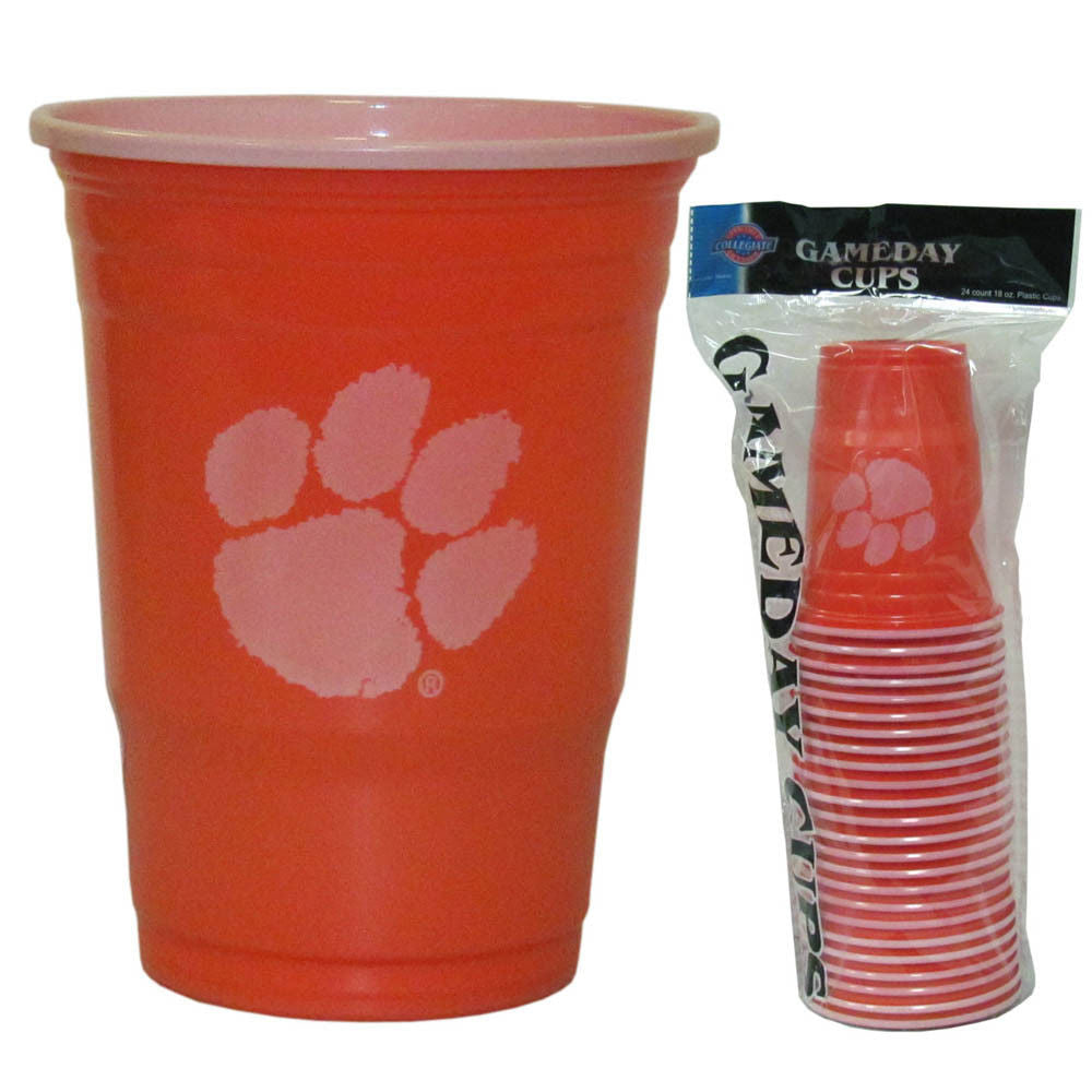 CLEMSON TIGERS PLASTIC GAMEDAY CUPS 18OZ 18CT SOLO TAILGATE PARTY SUPPLIES UNIV