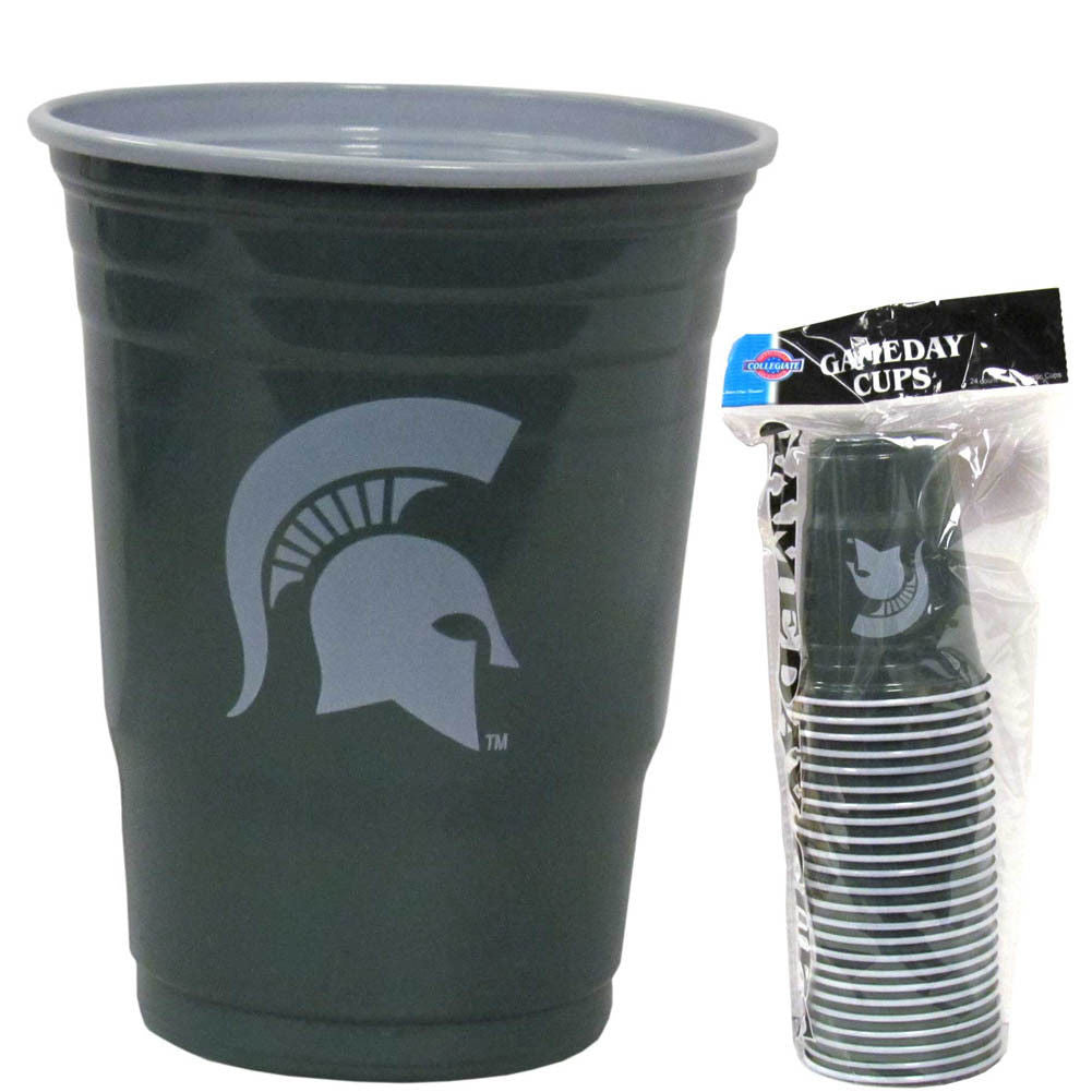 MICHIGAN STATE SPARTANS PLASTIC GAMEDAY CUPS 18OZ 18CT TAILGATE PARTY SUPPLIES