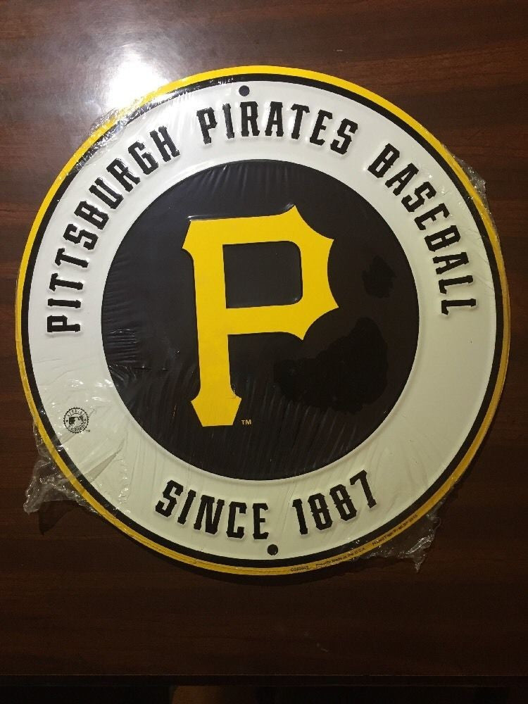 "PITTSBURGH PIRATES 12"" ROUND METAL BASEBALL SIGN MAN CAVE SPORTS SIGN PITTSBURG"
