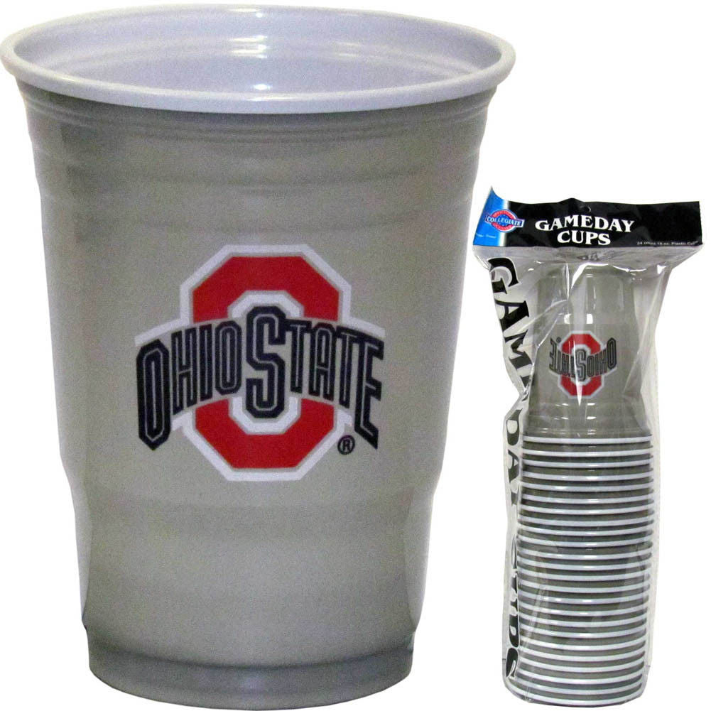 OHIO STATE BUCKEYES PLASTIC GAMEDAY CUPS 18OZ 18CT SOLO TAILGATE PARTY SUPPLIES