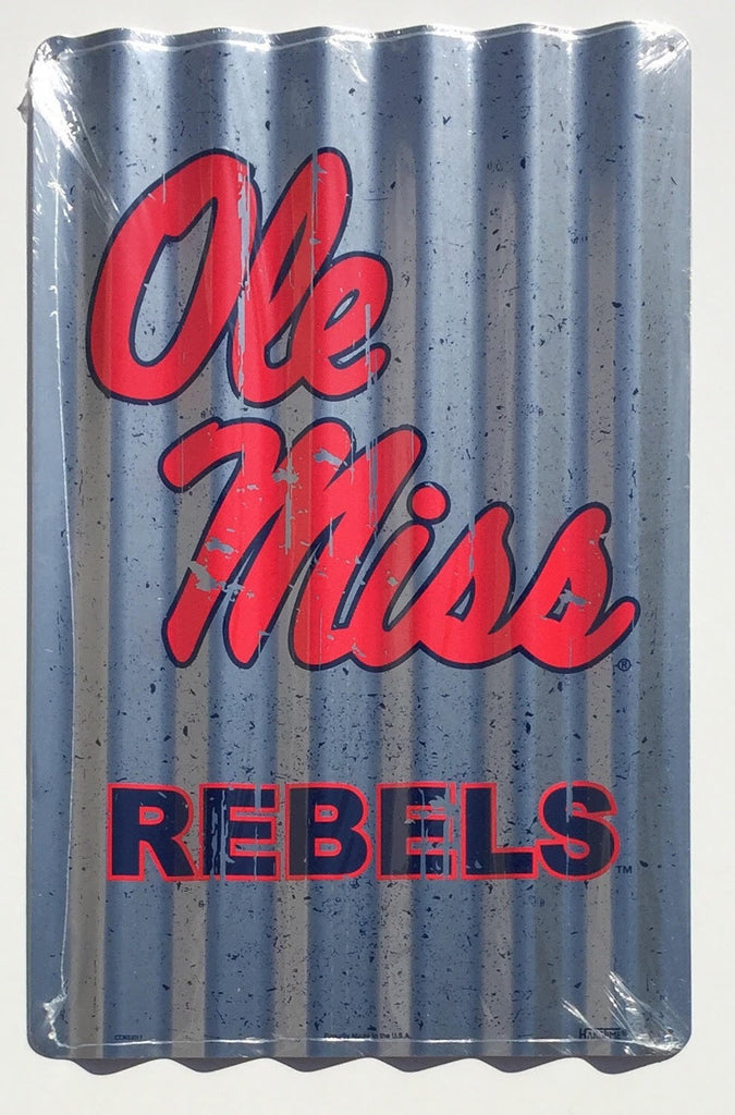 "OLE MISS REBELS LARGE CORRUGATED METAL SIGN 12"" X 18"""
