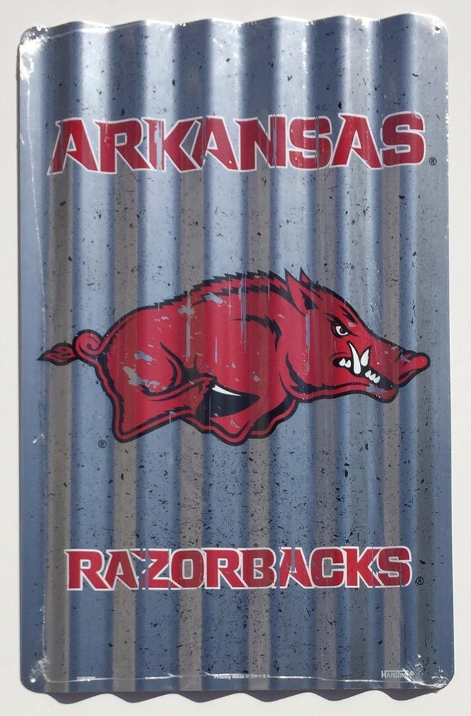 "ARKANSAS RAZORBACK CORRUGATED METAL SIGN 12"" X 18"" UNIVERSITY TIN RETRO MAN CAVE"