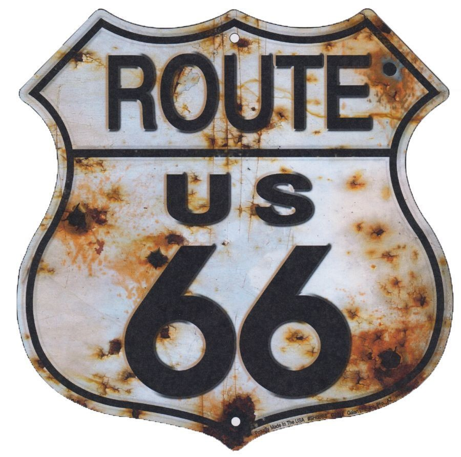 "US ROUTE 66 BULLET HOLES 11.5 X 11.5"" SHIELD METAL TIN EMBOSSED SIGN BAR RUSTY"