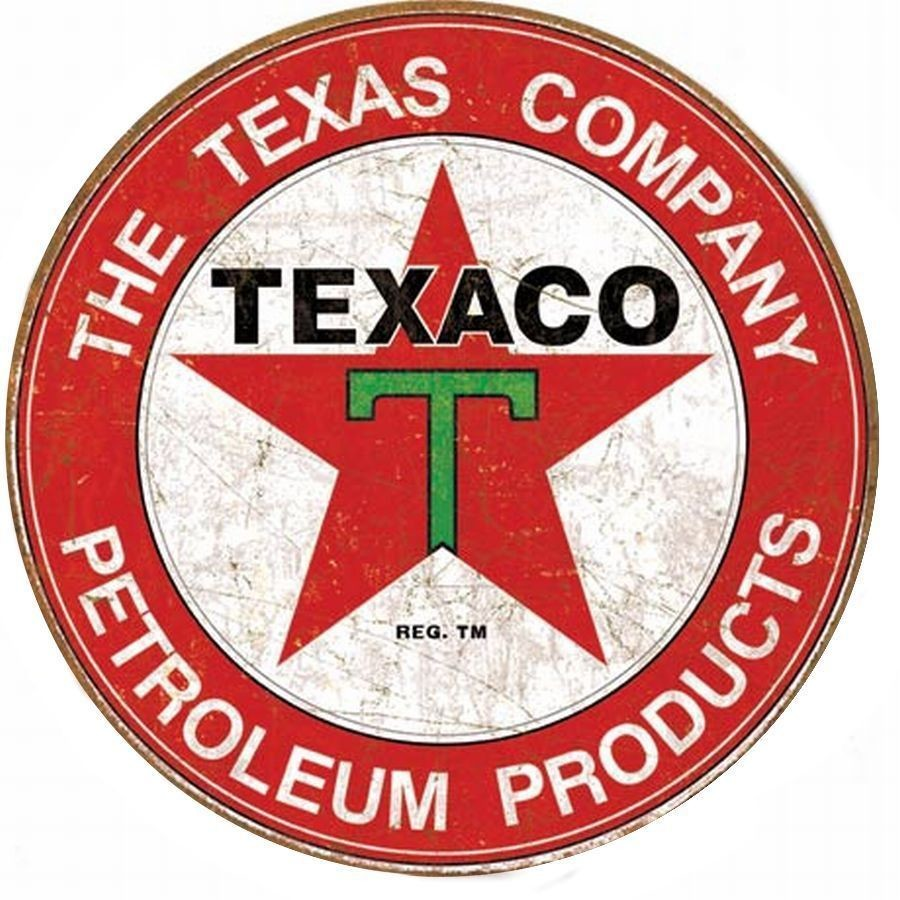 "Texaco Filling Station 12"" Round Metal Sign Gas Garage Sign Petroleum Distressed"