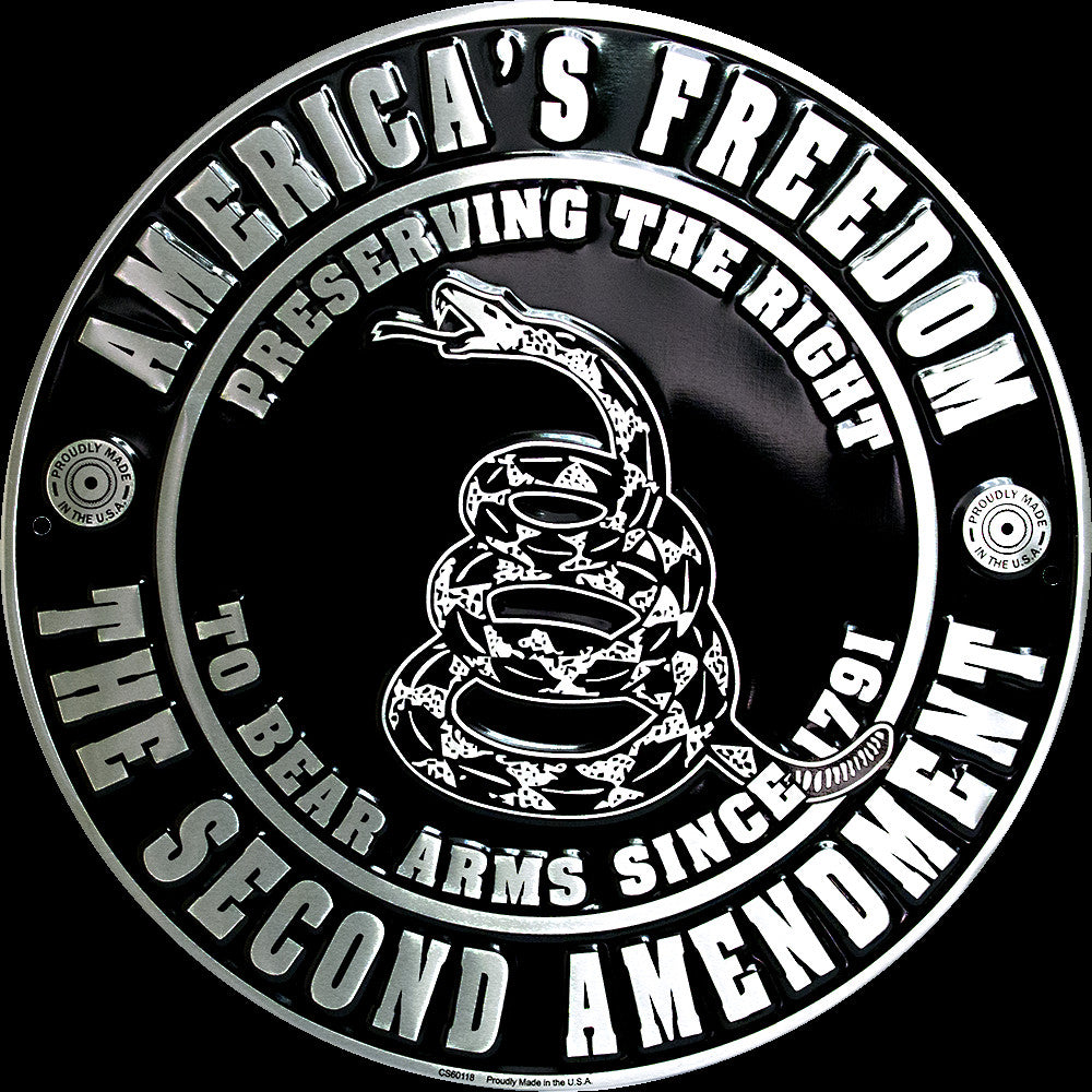 "America'S Freedom The Second Amendment 12"" Round Metal Sign To Bear Arms 1791"