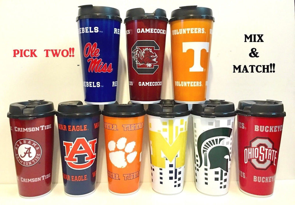 TUMBLERS WITH SNAP TIGHT LIDS 2PK NCAA 32OZ TRAVEL CUP COLLEGE -PICK YOUR TEAMS