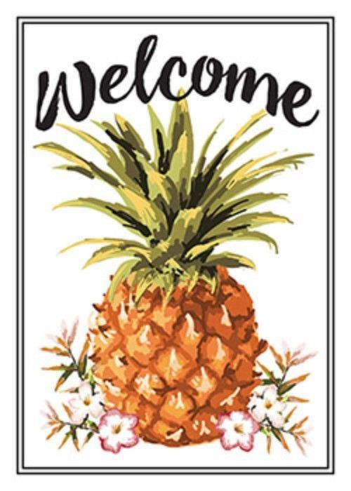 WELCOME PINEAPPLE EMBOSSED METAL SIGN 10X14""