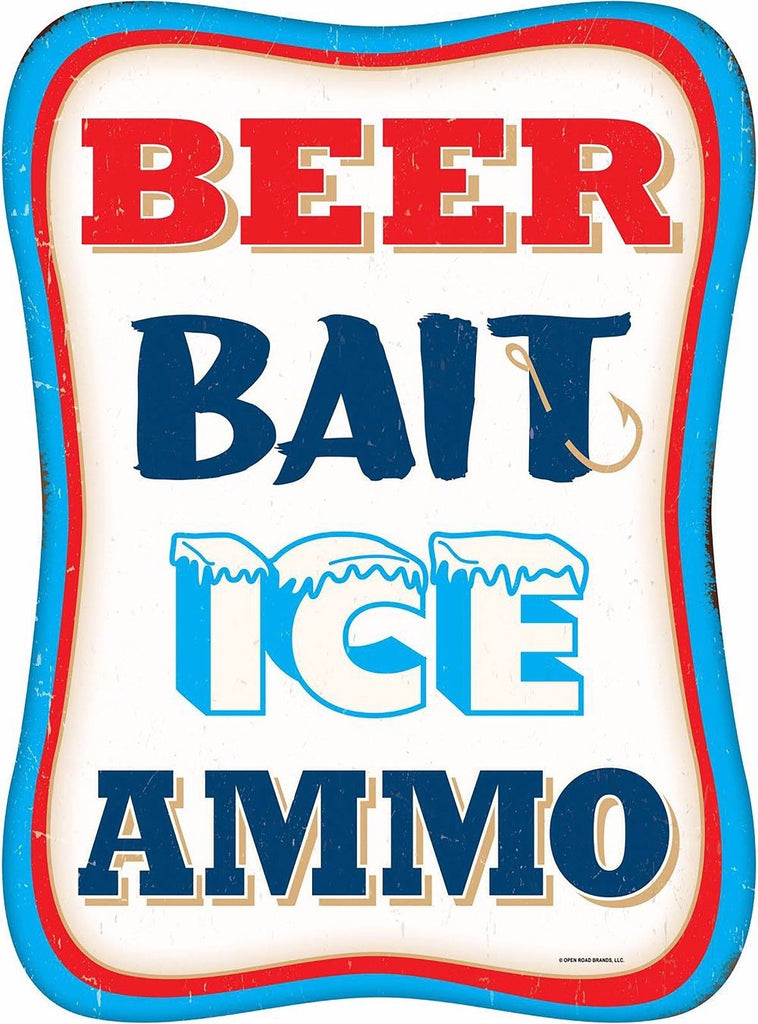 BEER BAIT ICE AMMO RETRO METAL SIGN