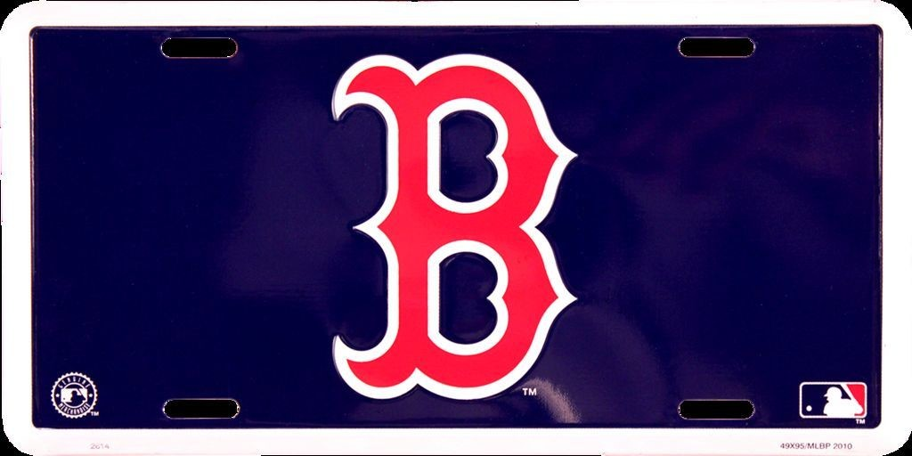 BOSTON RED SOX CAR TRUCK TAG LICENSE PLATE BLUE WITH RED B METAL SIGN