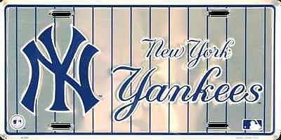 NEW YORK YANKEES CAR TRUCK TAG LICENSE PLATE SILVER WITH PINSTRIPES METAL SIGN